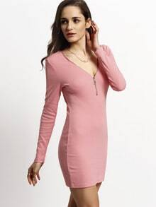 Pink Deep V Zipper Neck Bodycon Dress