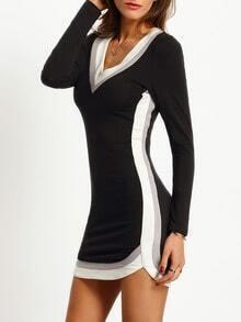 Black Plunge Color Blcok Trims Dress