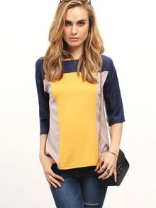 Color Block Round Neck Blouse