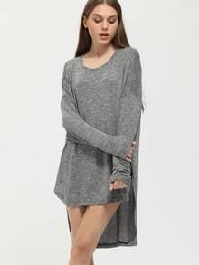 Grey Round Neck Dip Hem Glitter T-Shirt