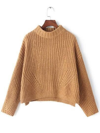 Camel Mock Neck Chunky Crop Sweater