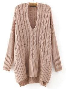 Pink V Neck Cable-knit Loose Sweater