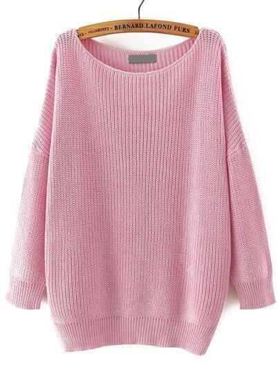 Pink Boat Neck Long Sleeve Loose Sweater