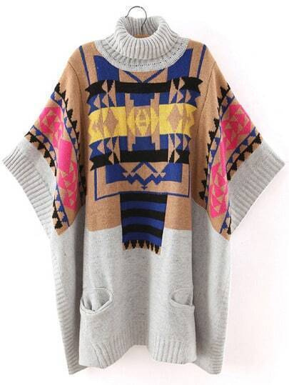 Colour Turtleneck Geometric Print Batwing Sweater