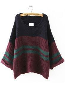 Colour-block Crew Neck Loose Sweater