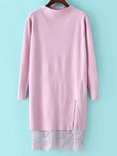 Pink Mock Neck Lace Hem Sweater Dress