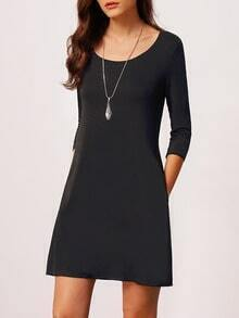 Black Crew Neck Slim Dress
