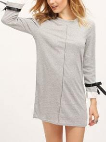 Grey Boat Neck Bell Sleeve Shift Dress
