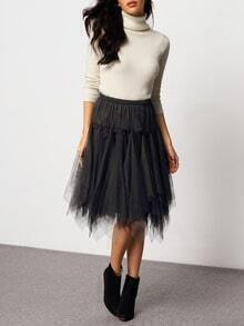 Black Elastic Waist Organza Skirt