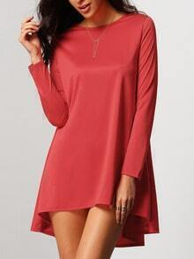 Red Crew Neck Dip Hem Blouse