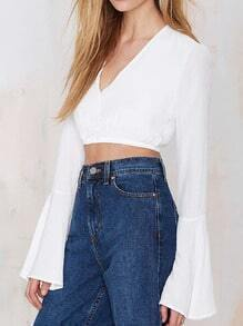 White V Neck Bell Sleeve Crop Blouse