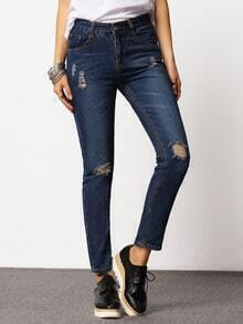 Blue Ripped Denim Casual Pant