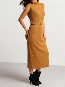 Camel High Neck Belted Ribbed Sweater Dress