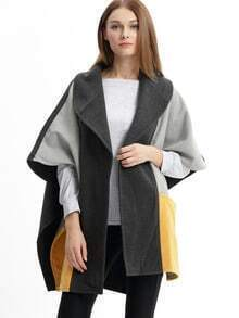 Grey Color Block Pockets Cape