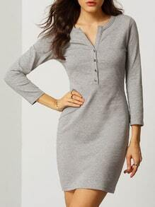 Grey V Cut Button Tshirt Dress