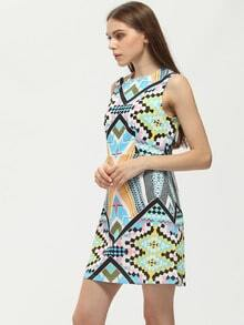 Multicolor Sleeveless Boat Neck Folk Print Dress