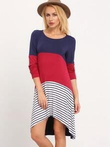 Navy Color Block Striped T-shirt Dress