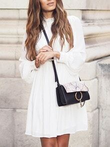 White Lace Embroidered Button Cuff Dress