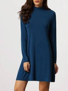 Blue Mock Neck Keyhole Back T-shirt Dress