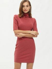 Red High Neck Bodycon Sweater Dress