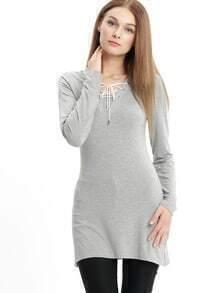 Grey Lace Up Neck Side Slit Dress