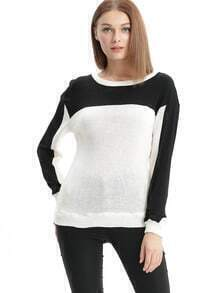 White Black Color Block Sweater