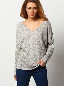 Grey V Neck Loose T-Shirt