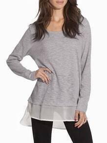 T-shirt trapèze col rond manches longues -gris