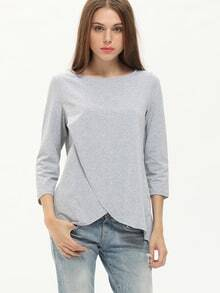 Grey Wrapped Loose T-Shirt