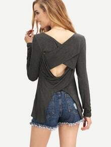 Grey Boat Neck Strappy Back T-Shirt