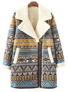 Colour Lapel Zipper Tribal Print Coat