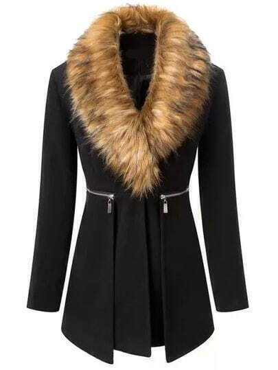 Black Faux Fur Collar Zipper Coat