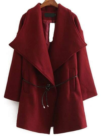 Burgundy Shawl Collar Long Sleeve Pockets Coat