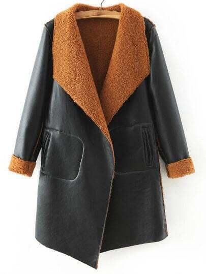 Black Brown Shawl Collar PU Loose Coat