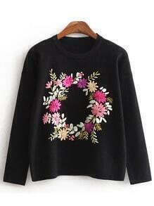 Black Crew Neck Owl Embroidered Sweatshirt With Cape