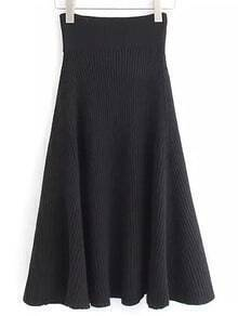 Black Rib Sweater Skirt