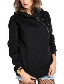 Hooded Zipper Pockets Black Sweatshirt