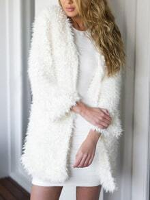 Faux Shearling Long White Coat