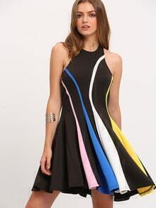 Black Color Block Halter Backless Pleated Dress