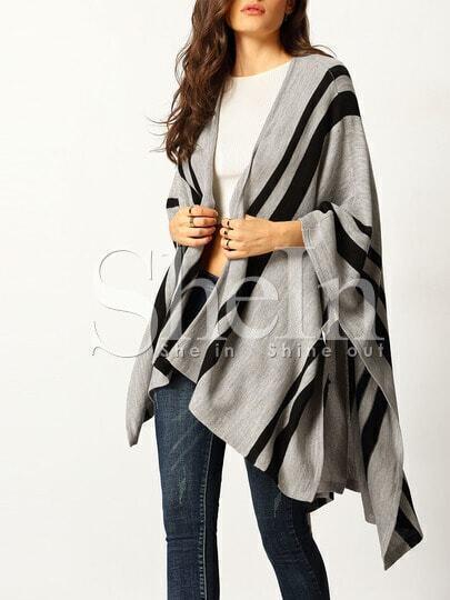 Grey Color Block Loose Cardigan
