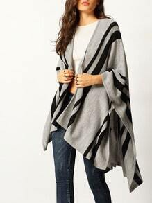 Grey Color Block Loose Cardigan