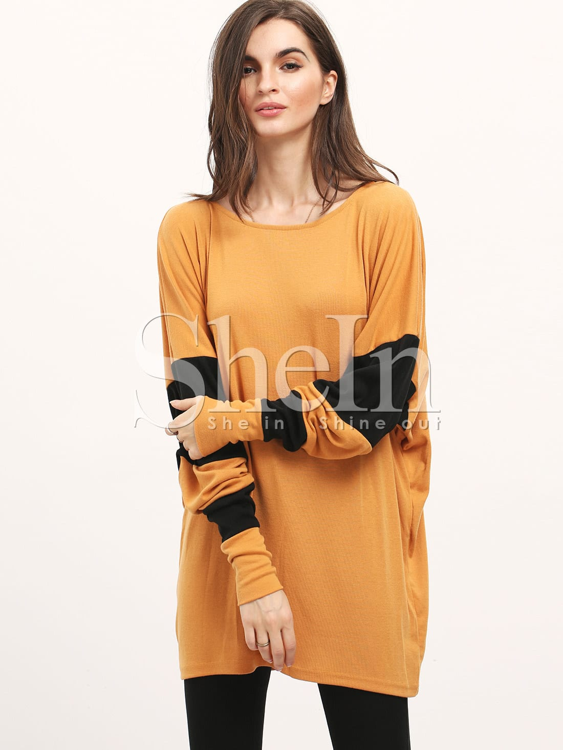 Фото Khaki Color Block Batwing Sleeve Loose T-Shirt. Купить с доставкой