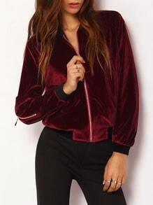 Burgundy Color Block Trims Bomber Jacket