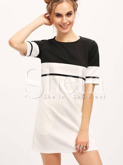 White Color Block Crew Neck Tunic Dress
