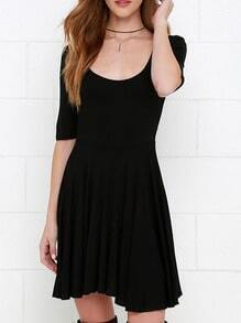 Black Scoop Neck Lace Up Back Dress