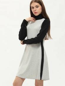 Grey Mock Neck Contrast Sleeve T-shirt Dress