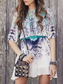 Crew Neck Tribal Print Flowy Dress