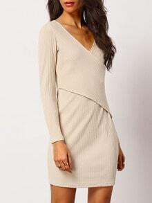 Apricot Wrap Front Ribbed Sweater Dress