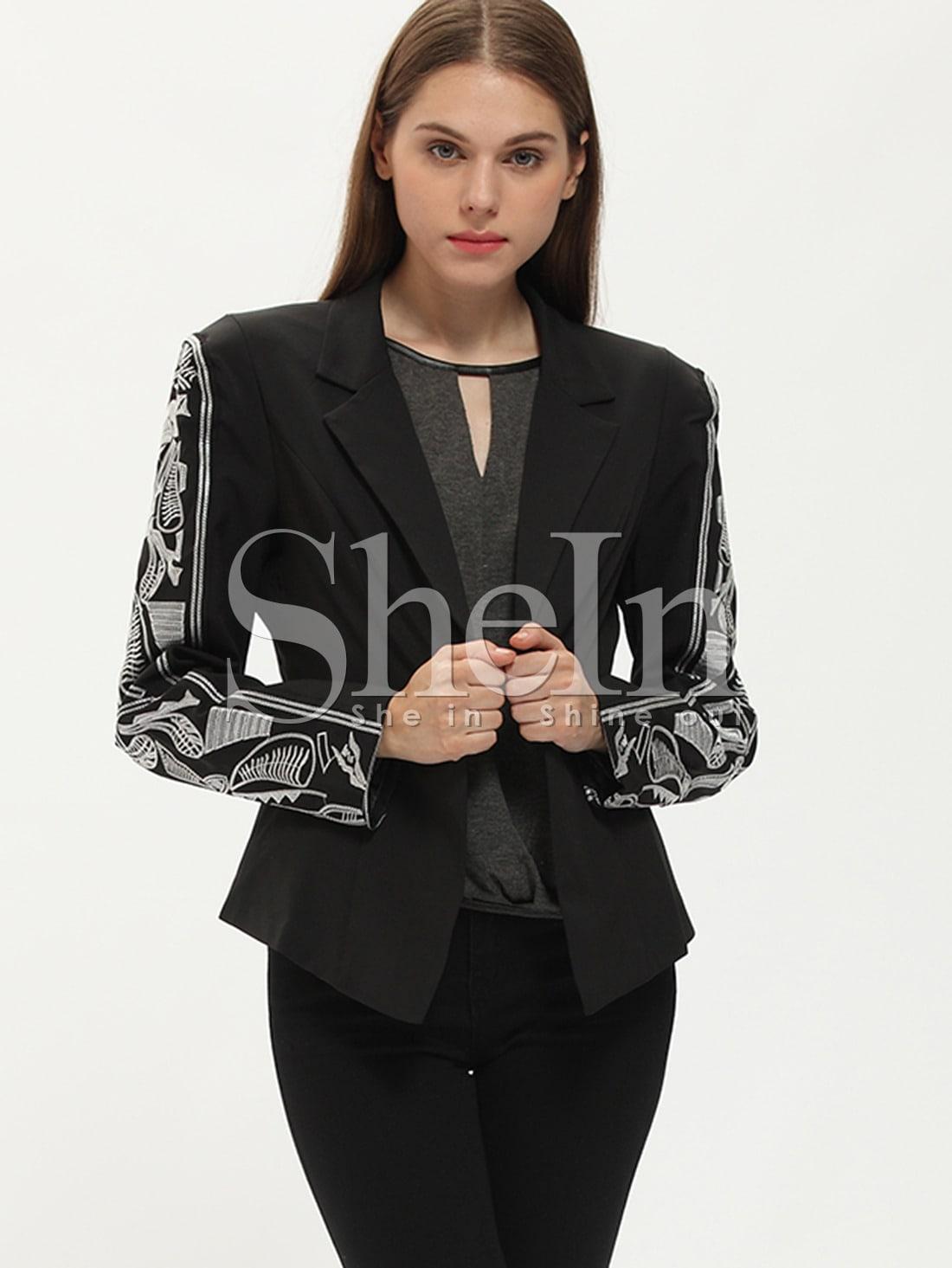 Black notch lapel print blazer