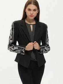 Black Notch Lapel Print Blazer